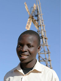 African Kid Makes Windmill