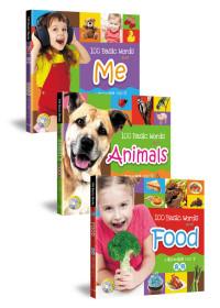 小寶貝的基礎100字:食物、我的世界、動物樂園(全套3冊+3CD) 100 Basic Words about Food、Me、Animals