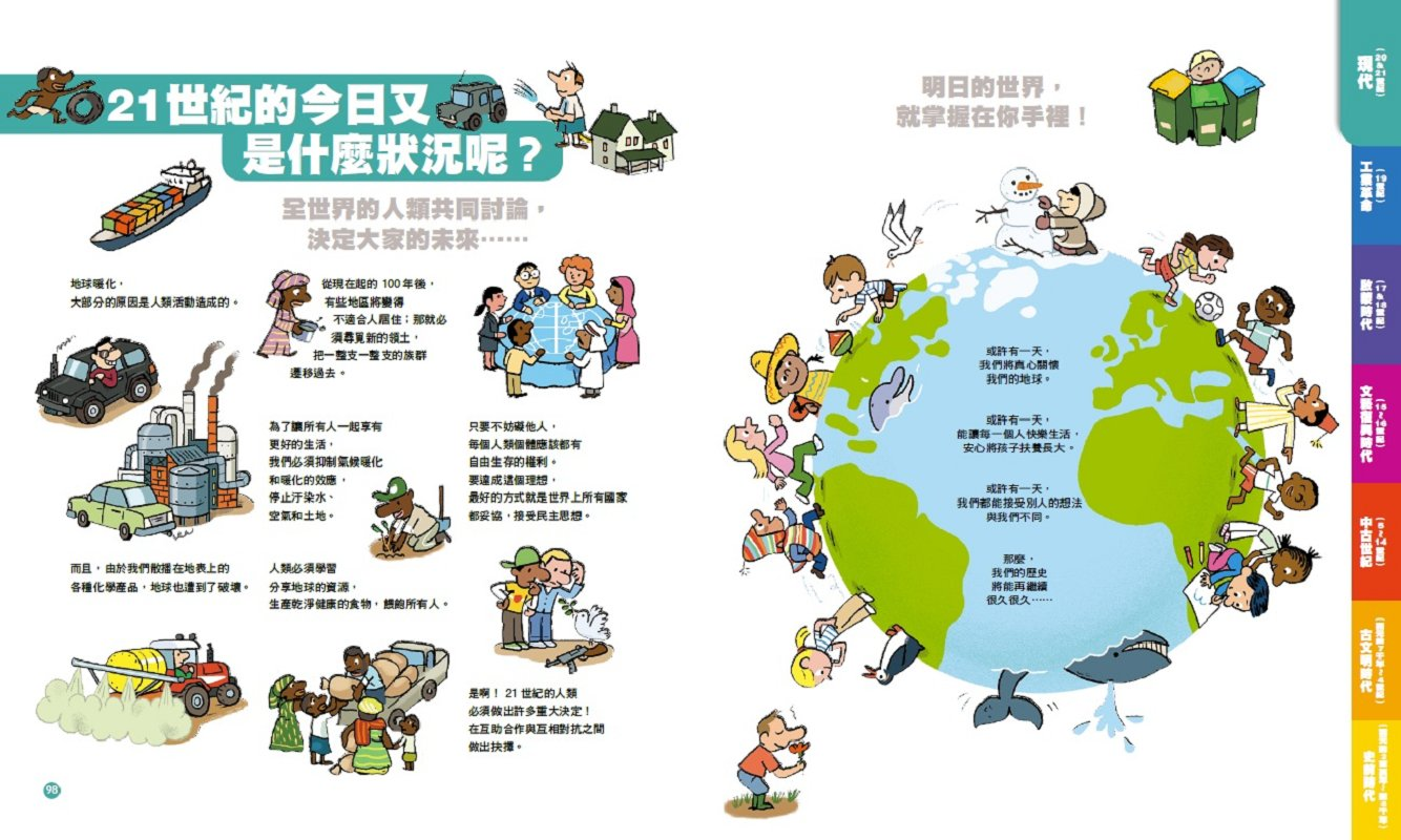◤博客來BOOKS◢ 暢銷書榜《推薦》孩子的世界歷史大地圖:從史前時代到21世紀,人類的大冒險與大發現(書後附動動腦Q&A;)