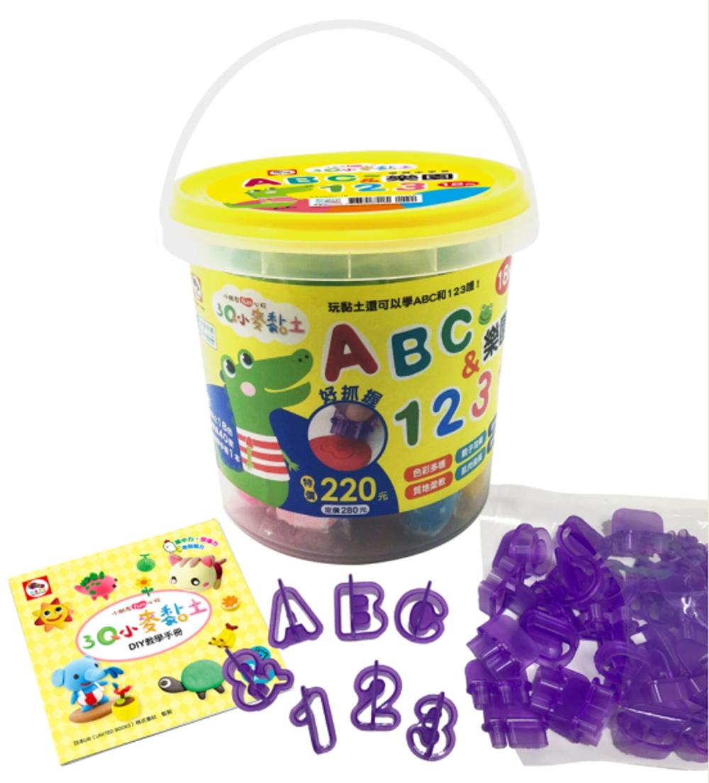 3Q小麥黏土:ABC 123樂園 內附18色小麥黏土 共450g  40個字母、數字模具