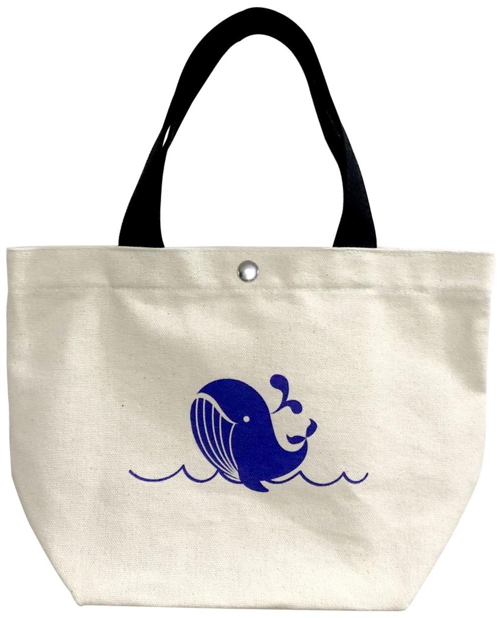 《鯨魚戲水》帆布托特包