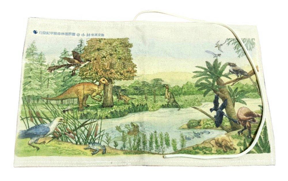 《彩繪白堊紀森林復原圖》帆布多...