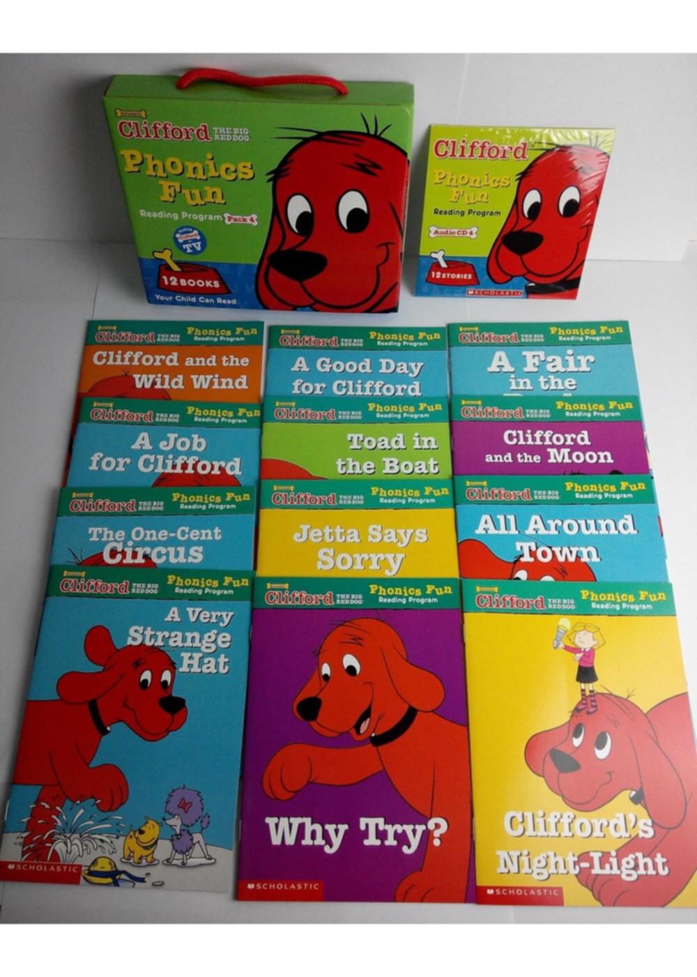 Clifford Phonics Fun: Reading Program Pack 4 (12 Books+CD)