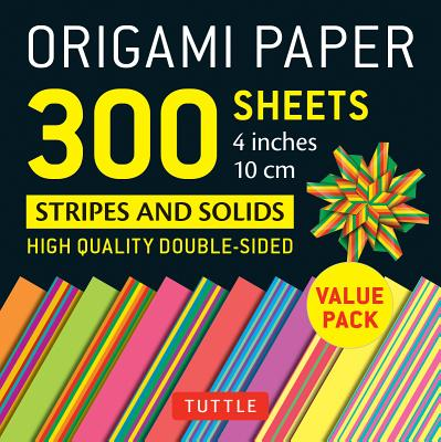 Origami Paper - Stripes and Solids - 4 Inch: Tuttle Origami Paper: High-quality Origami Sheets Printed With 12 Different Designs