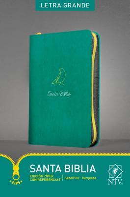 Santa Biblis: Nueva Traduccion Viviente, SentiPiel Turquesa, Edición Zíper, Letra Grande, Con Referencias