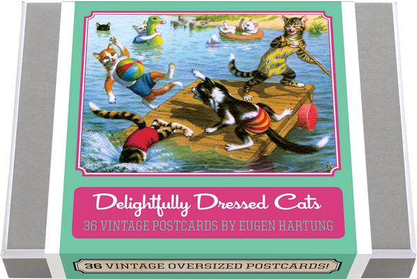 Delightfully Dressed Cats Postcard Box - 36 Unique Vintage Postcards: Feline Frolics by Eugen Hartung