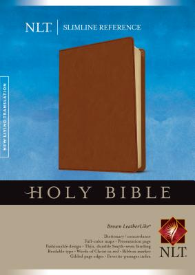 Holy Bible: New Living Translation, Slimline Reference, Brown LeatherLike