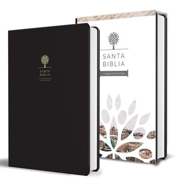 Santa Biblia / Holy Bible: Reina Valera 1960: negra, imitación piel con imágenes de la Tierra Santa