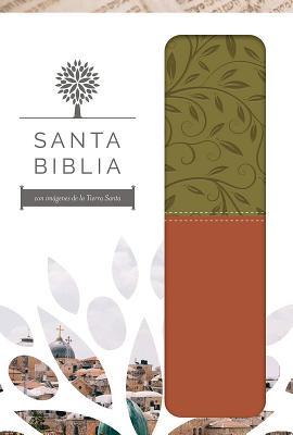 Santa Biblia / Holy Bible: Reina Valera 1960, marron y verde, imitación piel con imágenes de la Tierra Santa