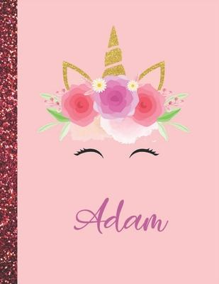 Adam: Adam Marble Size Unicorn SketchBook Personalized White Paper for Girls and Kids to Drawing and Sketching Doodle Taking