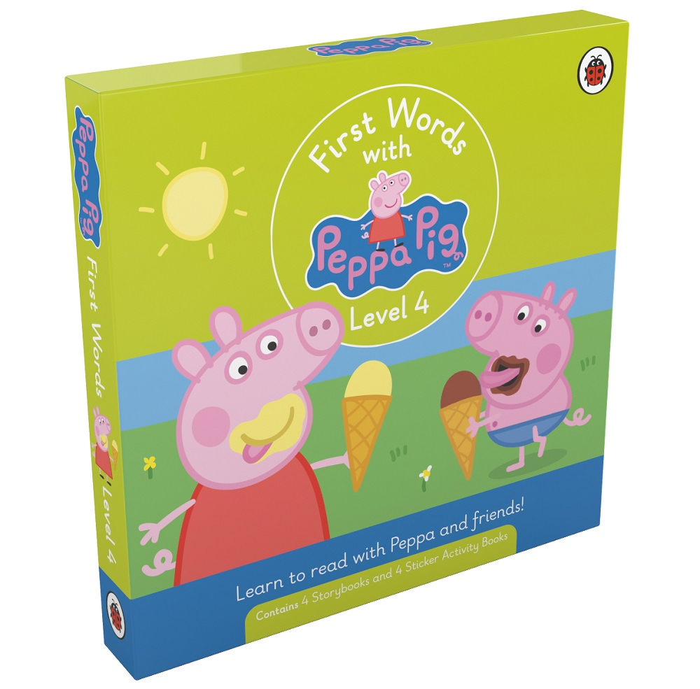 First Words with Peppa Level 4 Pack (4 storybooks + 4 sticker activity books)