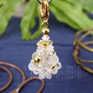 白色聖誕樹手機吊飾(串珠材料包)