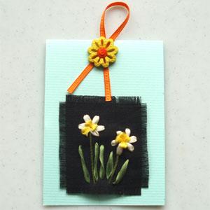 <水仙花>緞帶繡卡片材料包