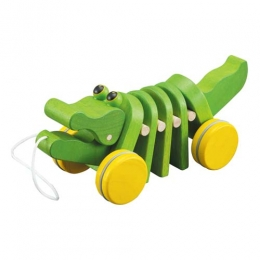 《PLAN TOYS》學齡前系列積木-鱷魚拉車