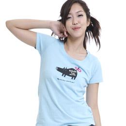 【SOFU Women 】純真小豬 -女短T恤(淺藍) XL