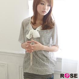 ROSE。獨特細緻鏤空條紋蝴蝶結造型二件式上衣