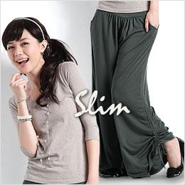 『舒服』抽繩寬褲裙(灰綠L)
