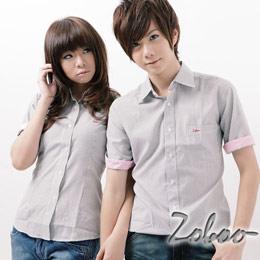 【Zoboo】S0148*自創品牌【ZOBOO LOGO條紋短袖襯衫】黑色 2號