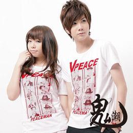 【小鬼潮流】T0567*【V PEACE植絨相片短袖T恤】白色 XL