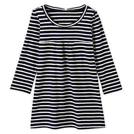 [MUJI 無印良品]女混絲棉結橫紋七分袖衫靛×原M