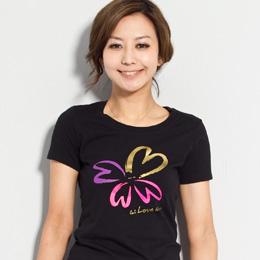 【SOFU Women 】愛 綻放 (FIT版)-公益女短T恤(黑) S