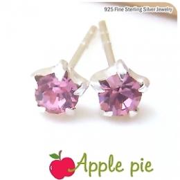【Apple Pie】奧地利水晶星星˙925純銀耳環-甜粉紅