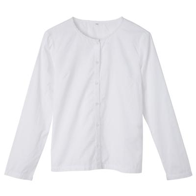 [MUJI 無印良品]女印度棉蕾絲圓領襯衫白色M