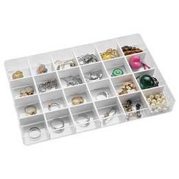 【喬伊絲】6號透明飾品小物收納盒(24格)                              透明色.白色