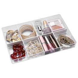 【喬伊絲】5號透明飾品小物收納盒(8格)                              透明色.白色