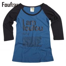 《FOUFOU》七分袖T-I am foufou(藍女版S)