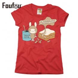 《FOUFOU》T-shirt-花生小子-女版熱血紅M