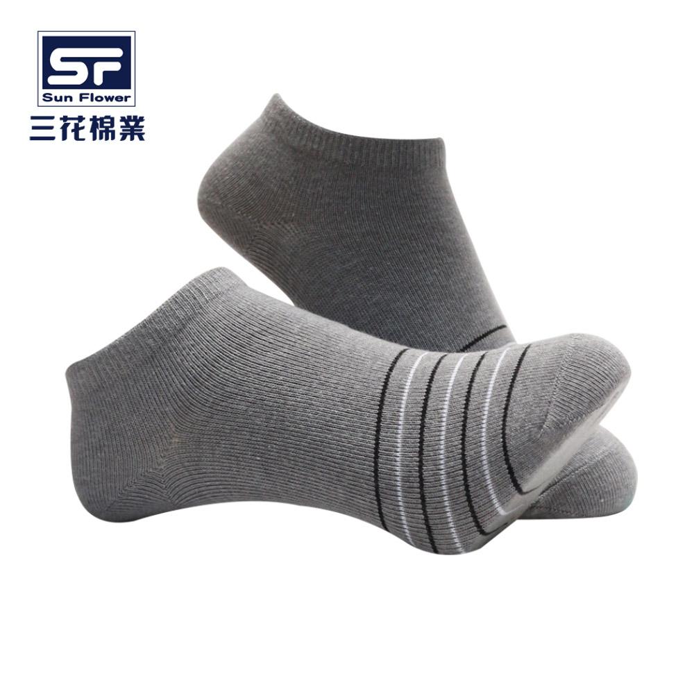 【三花棉業】60-3_三花細條紋隱形襪(襪子/短襪)                              灰