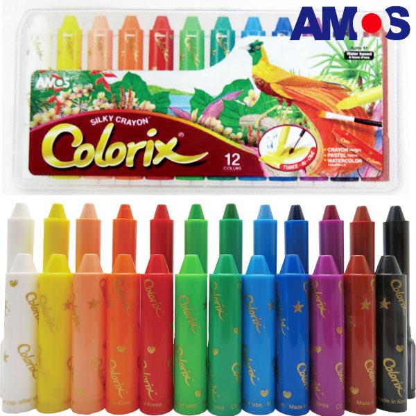 韓國AMOS 12色塑膠盒水蠟筆