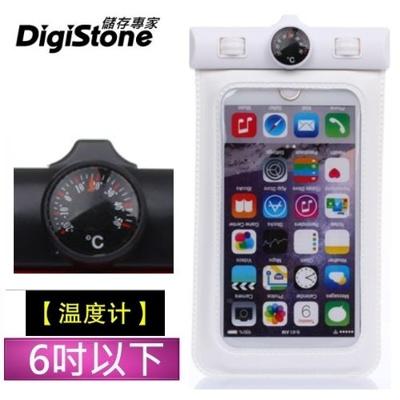 DigiStone 手機防水袋 保護套 手機套 可觸控 溫度計型  6吋 手機-果凍白色