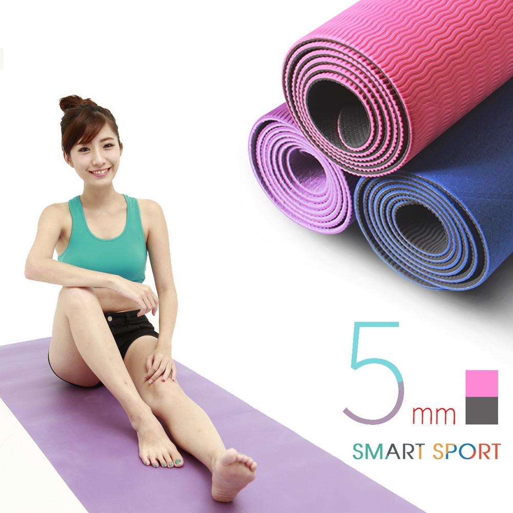 [SMART SPORT] 環保瑜珈墊/運動墊 - TPE 5mm 雙色波浪紋