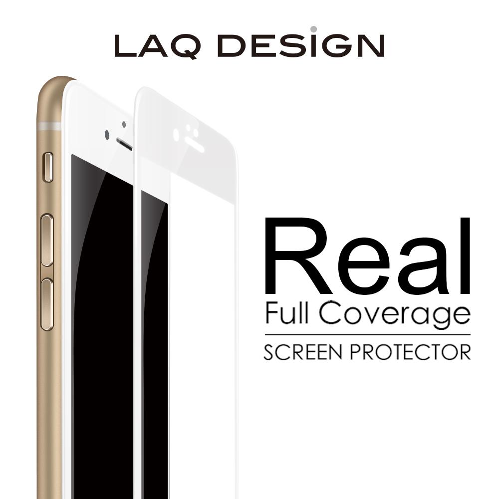LAQ DESiGN iPhone6s / 6 Plus (5.5吋) 3D真滿版 鋼化玻璃保護貼- 白框款