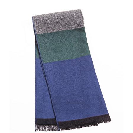 男士高檔柔軟仿羊絨圍巾藍色