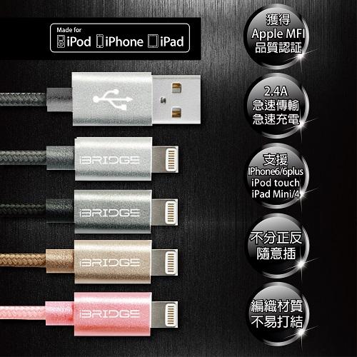 iBRIDGE APPLE認證 雙面插USB設計 鋁合金屬編織線-晶鑽銀