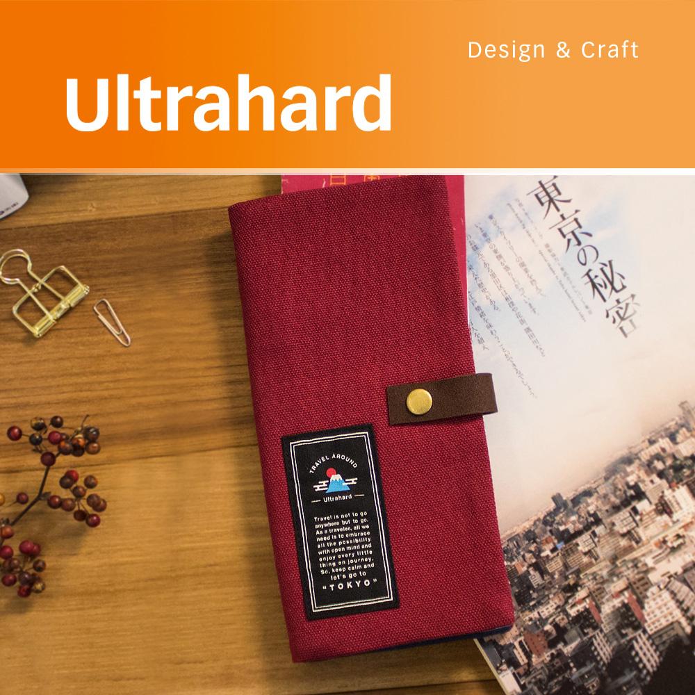 Ultrahard Travel Around系列 長版護照套-東京(酒紅)