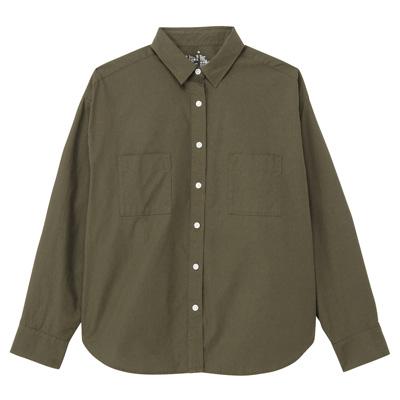 [MUJI無印良品]女有機棉水洗寬版襯衫S卡其綠
