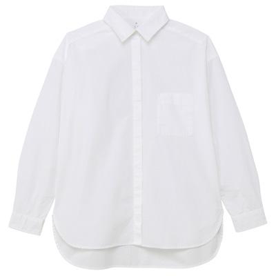 [MUJI無印良品]女有機棉水洗寬版襯衫S白色