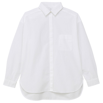[MUJI無印良品]女有機棉水洗寬版襯衫M白色