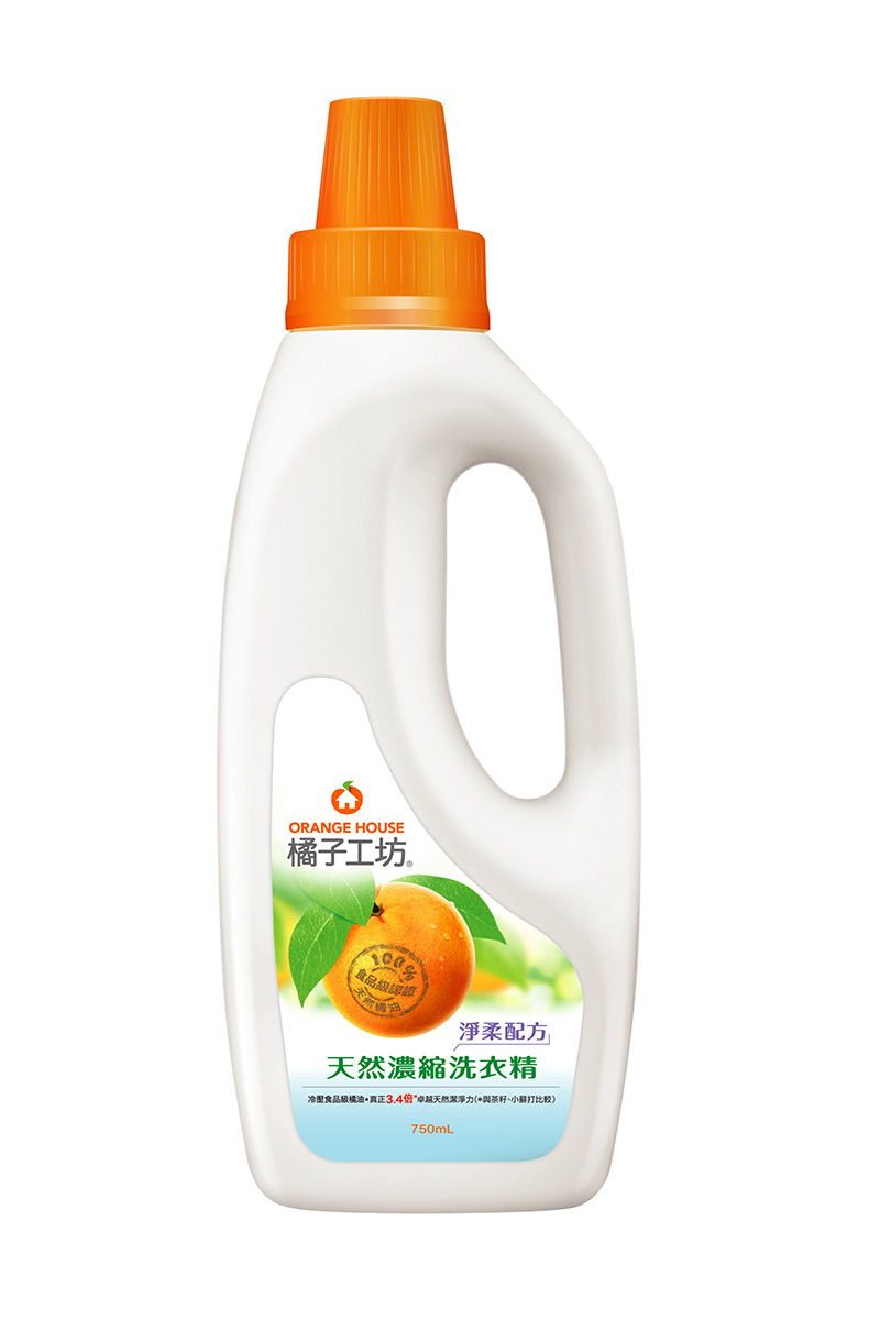 橘子工坊衣物類天然濃縮洗衣精750ml/瓶-淨柔配方