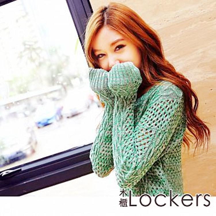 ~Lockers 木櫃~側邊菱形混色鏤空針織長袖罩衫寬鬆毛衣~二色 綠色