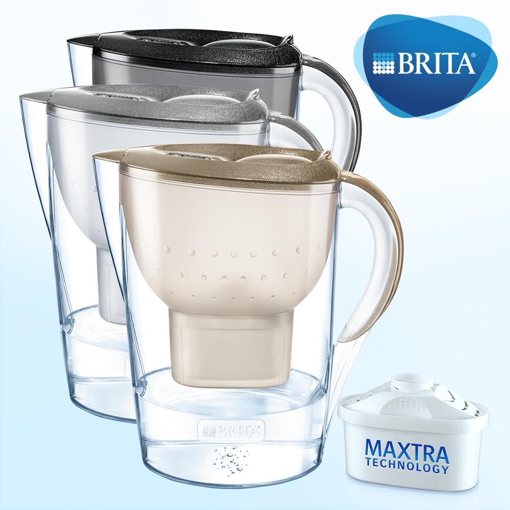 德國BRITA 馬利拉3.5L星燦濾水壺+MAXTRA濾芯1支 (共兩支濾芯)黑色