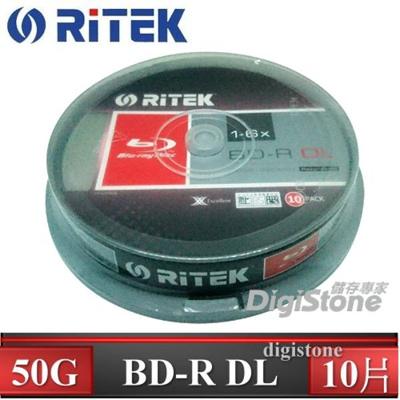 錸德 Ritek 藍光 Blu-ray X版 BD-R 6X DL 50GB 可燒錄光碟片(10P布丁桶)x1