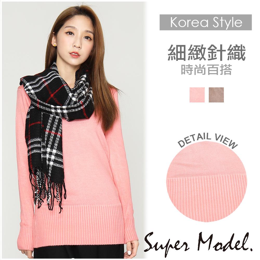 【名模衣櫃】細緻素面針織衫-共2色-32887(F可選)F粉色