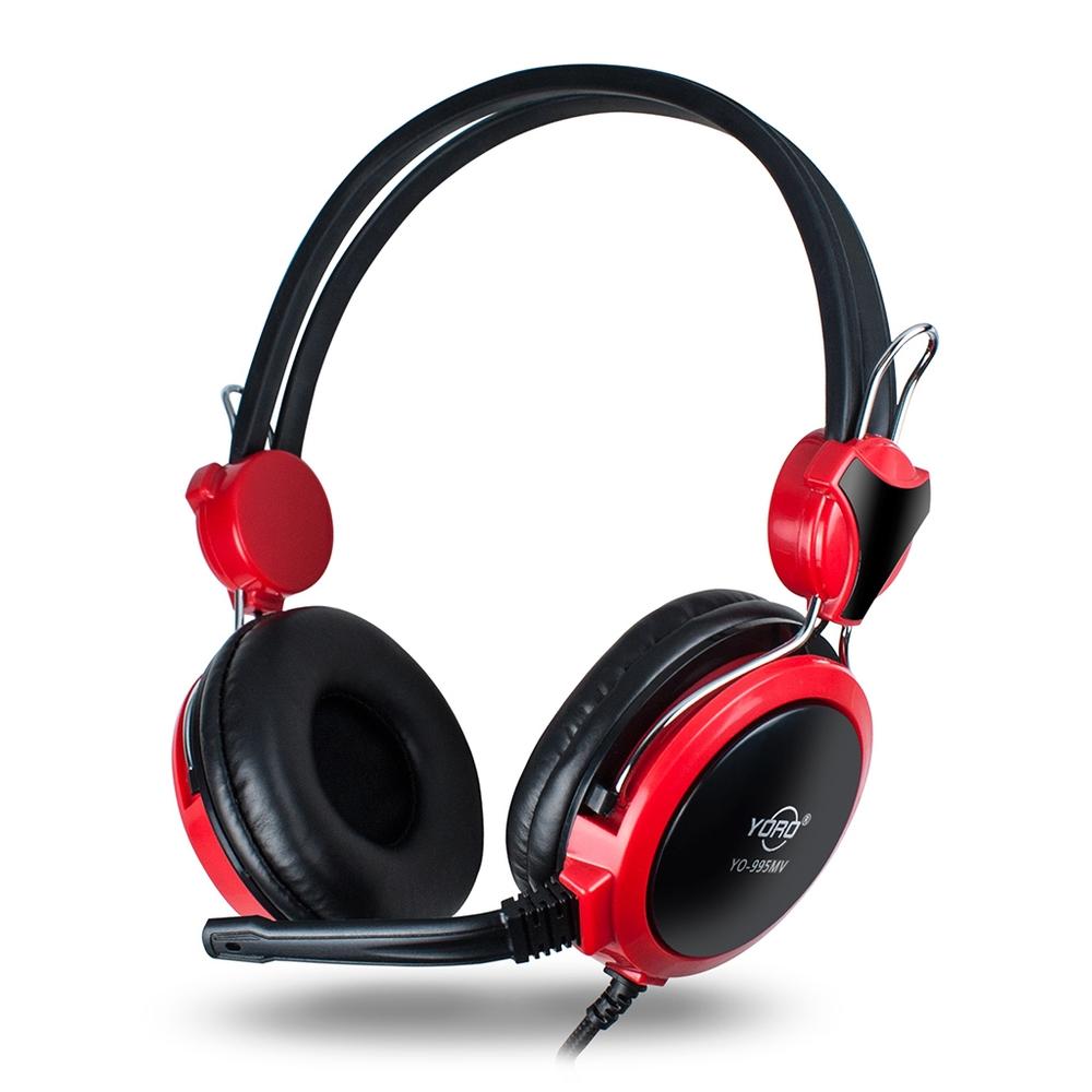 YO-995 電腦用全罩式 電競耳機麥克風-紅黑