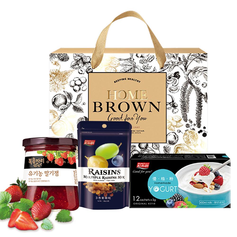 手作優格鮮摘果醬禮盒(BOKUMJARI草莓果醬+紅布朗優格粉+3色葡萄乾)
