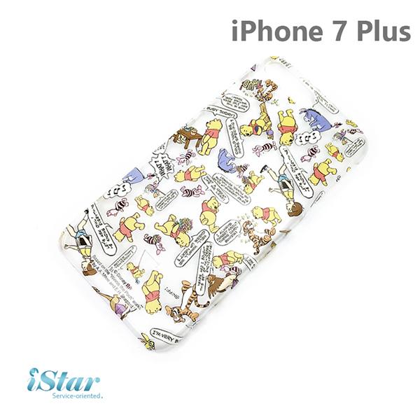 【日本 PGA-iJacket】iPhone 7 Plus 正版迪士尼海外限定PC透明塗鴉系列-維尼